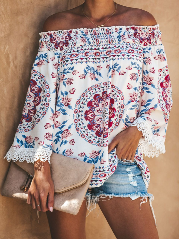 Women Floral Casual Long Sleeve Printed Off Shoulder Holiday Blouses & Shirts