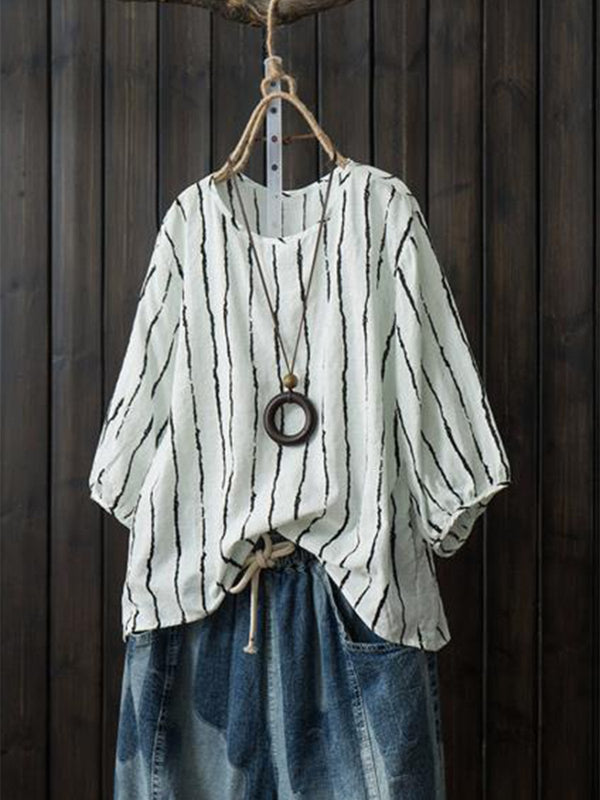 3/4 Sleeve Stripe Casual Crew Neck Blouse