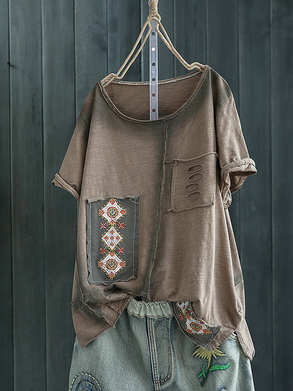Cotton Patchwork Casual Short Sleeve Cozy Tops