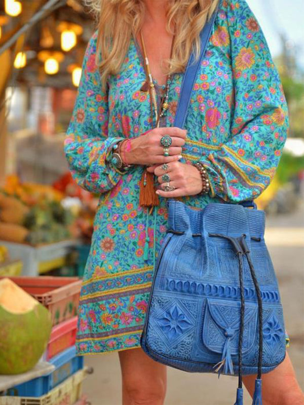 V Neck Long Sleeve Boho Printed Dresses