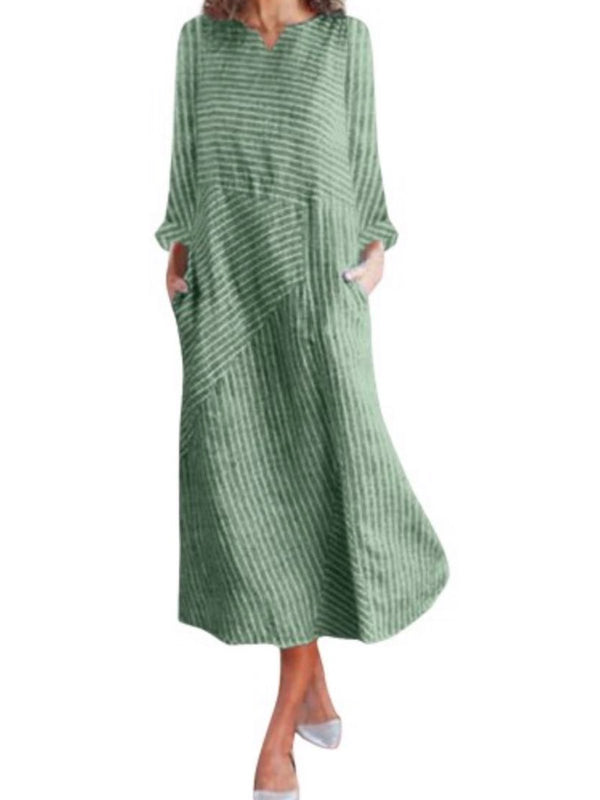 Casual Striped Crew Neck Pockets Long Sleeve Maxi Dress