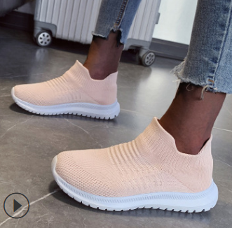 Plus Size Outdoor Casual Slip On Flat Heel Fly Knitted Sneakers