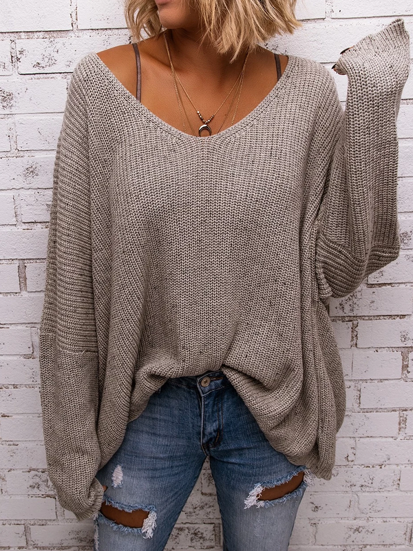 Women Plus Size Gray V Neck Casual Knitted Solid Sweaters