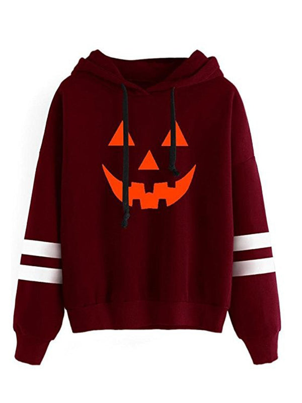 Vintage Long Sleeve Halloween Pumpkin Printed Hoodies