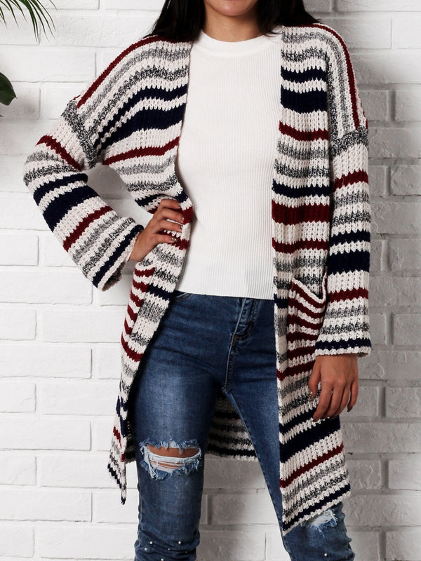 Red Knitted Casual Cardigan