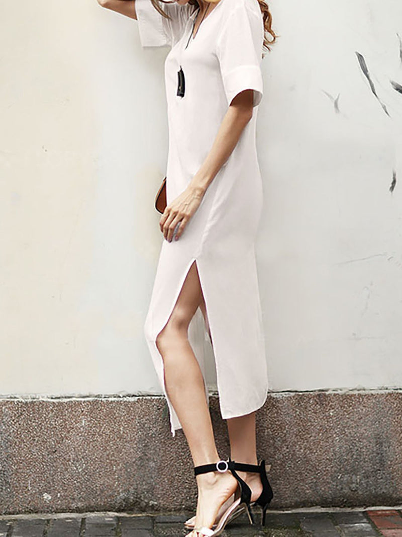 Women White Shift Linen Short Sleeve Slit Solid Dress