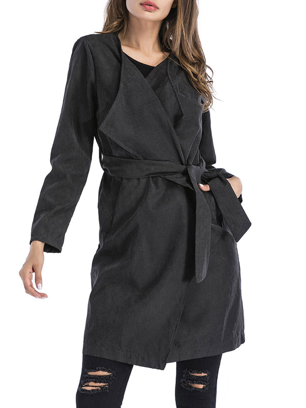 Date Plain Gorgeous Winter Trench Coats With Belt