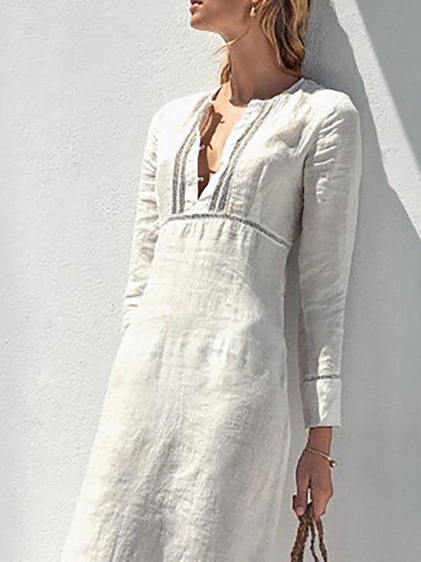 White Paneled Solid Basic Long Sleeve Dresses