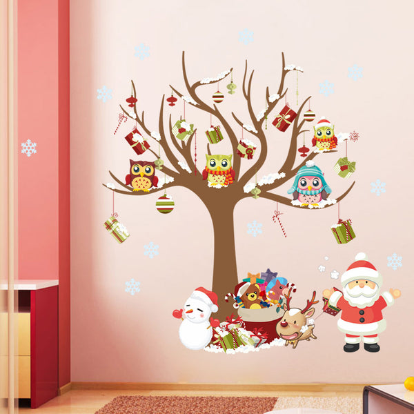 Christmas Owl Decor Art Vinyl Removable Wall Stickers Wintersweet Mural Decals