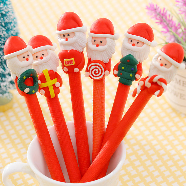 5Pcs Christmas Santa Claus Crutches Style Soft Ceramic Ball Pen Cartoon Christmas Gifts Ballpoint