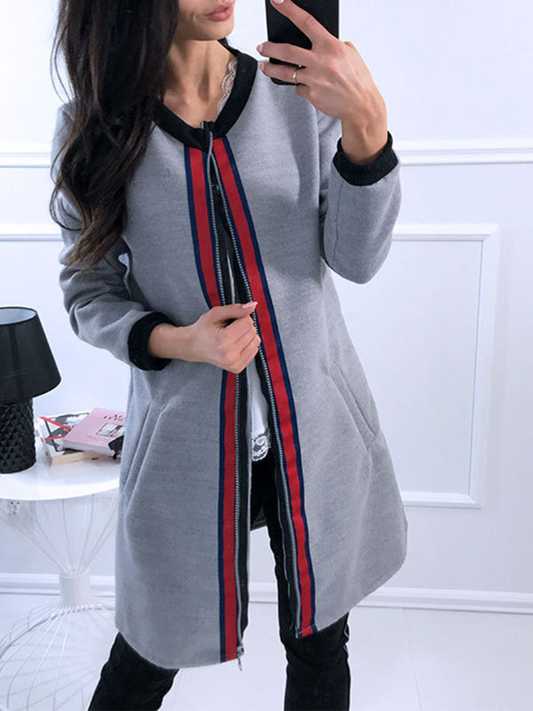 Long Sleeve Zipper Cotton Stripes Coat
