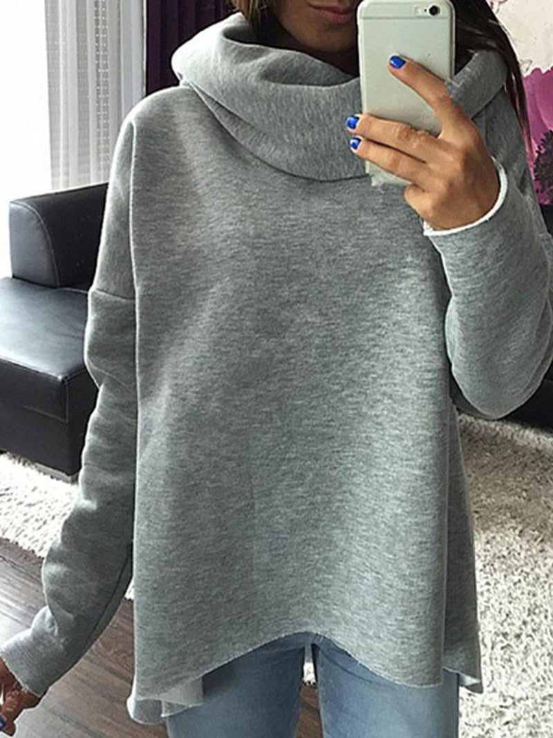 Cotton-blend Solid Cowl Neck Casual Sweatshirt