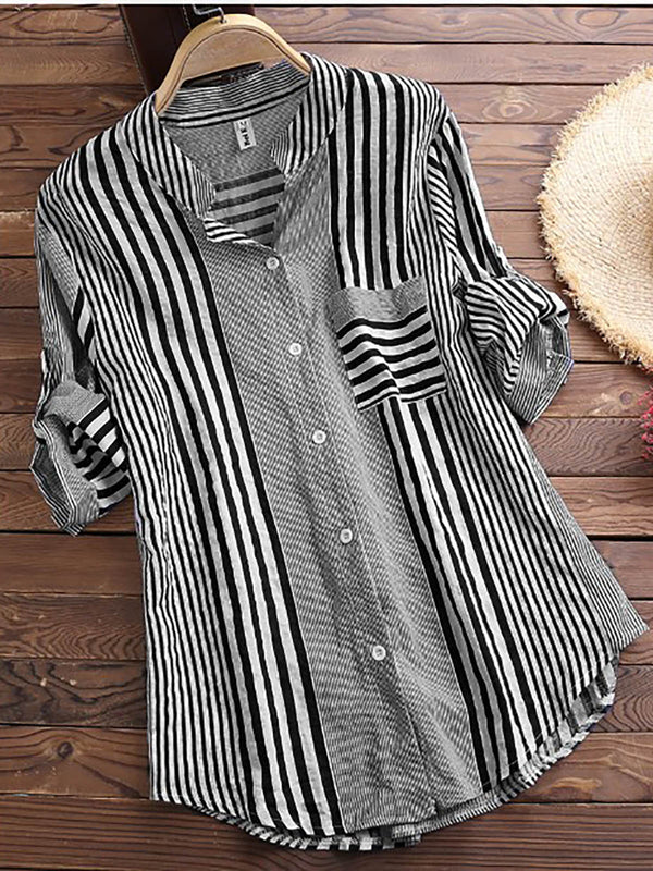 Women Patchwork Stripe Print Stand Collar Irregular Casual Shirts