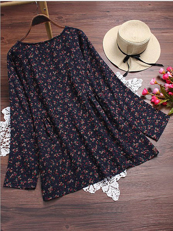 Women Vintage Long Sleeves Floral Print Tops