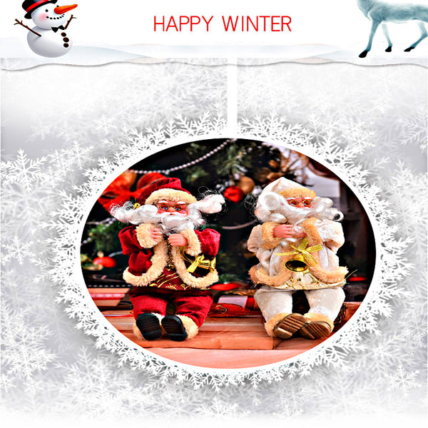 Flannel Sitting Posture Santa Claus Christmas Supplies Dolls Home Decoration Gifts 25CM