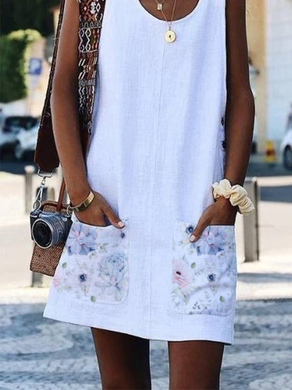 Women Floral-Print Sleeveless Shift Casual Dresses