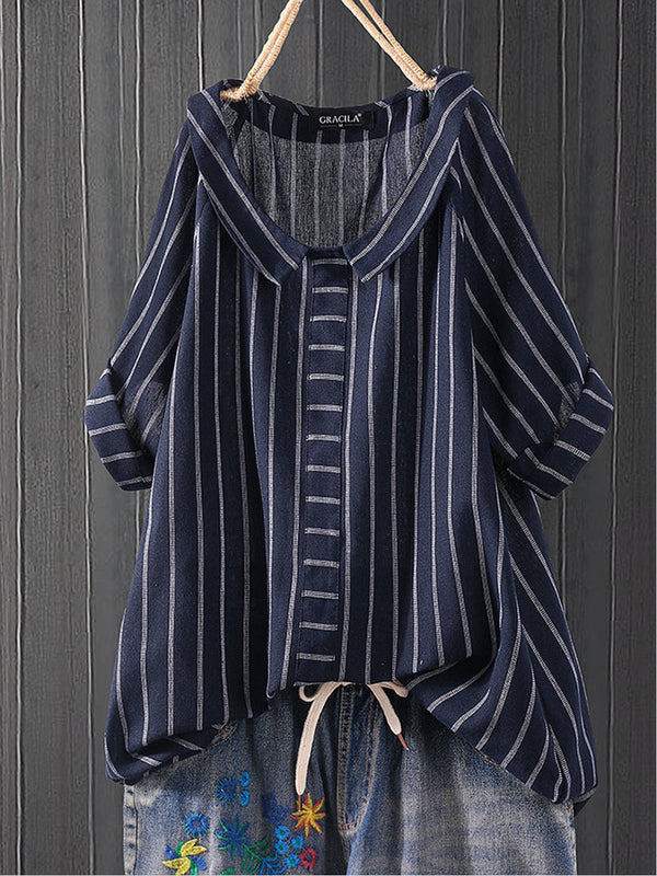Cotton-Blend Half Sleeve Casual Striped Cozy Tops