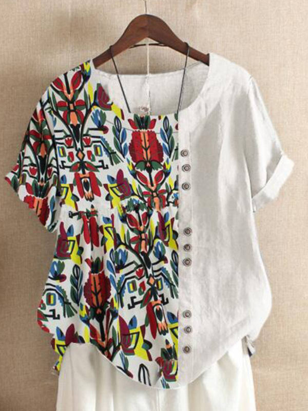 Casual Patchwork Cotton-Blend Shirts & Tops