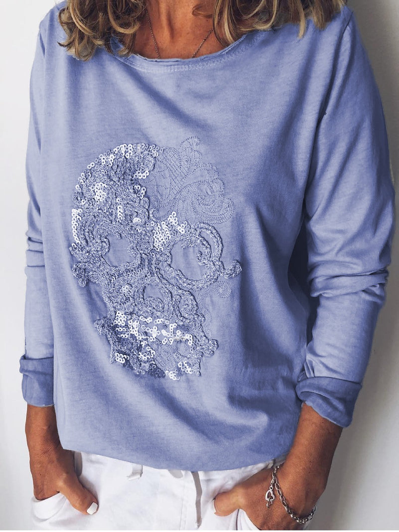 Grey Long Sleeve Printed Shirts & Tops