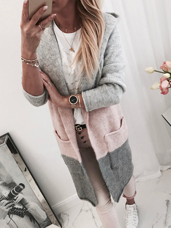 Long Sleeve Hoodie Color-Block Knitted Cardigans