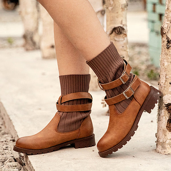 Brown Pu Winter Boots