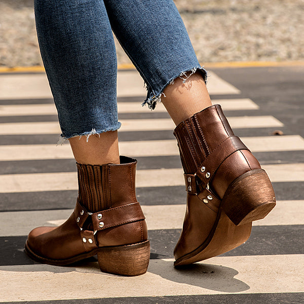 Brown Med (3-8Cm) Women Chunky Heel Round Toe Boots
