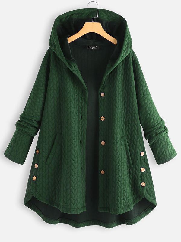Women Vintage Solid Long Sleeve Hoodie Sweater Coat
