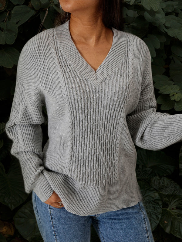 Long Sleeve V Neck Cotton Sweater