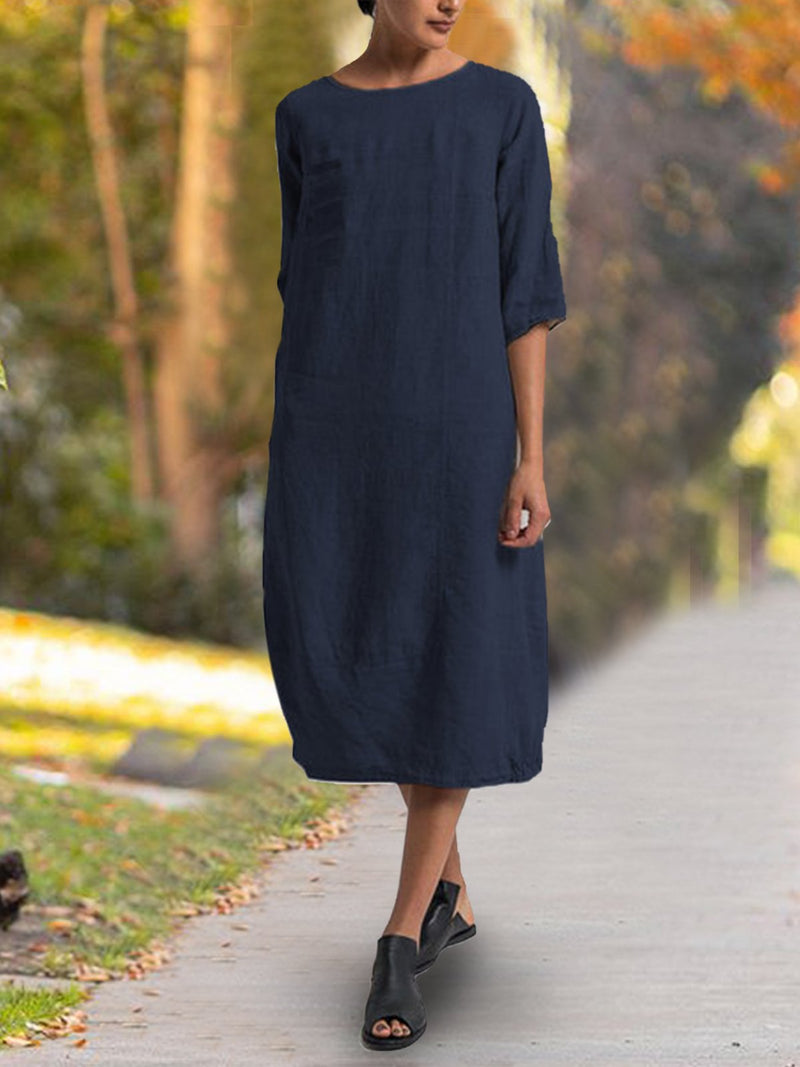 Solid undress Casual Dresses Daily Crew Neck Casual 3/4 Sleeve Dresses