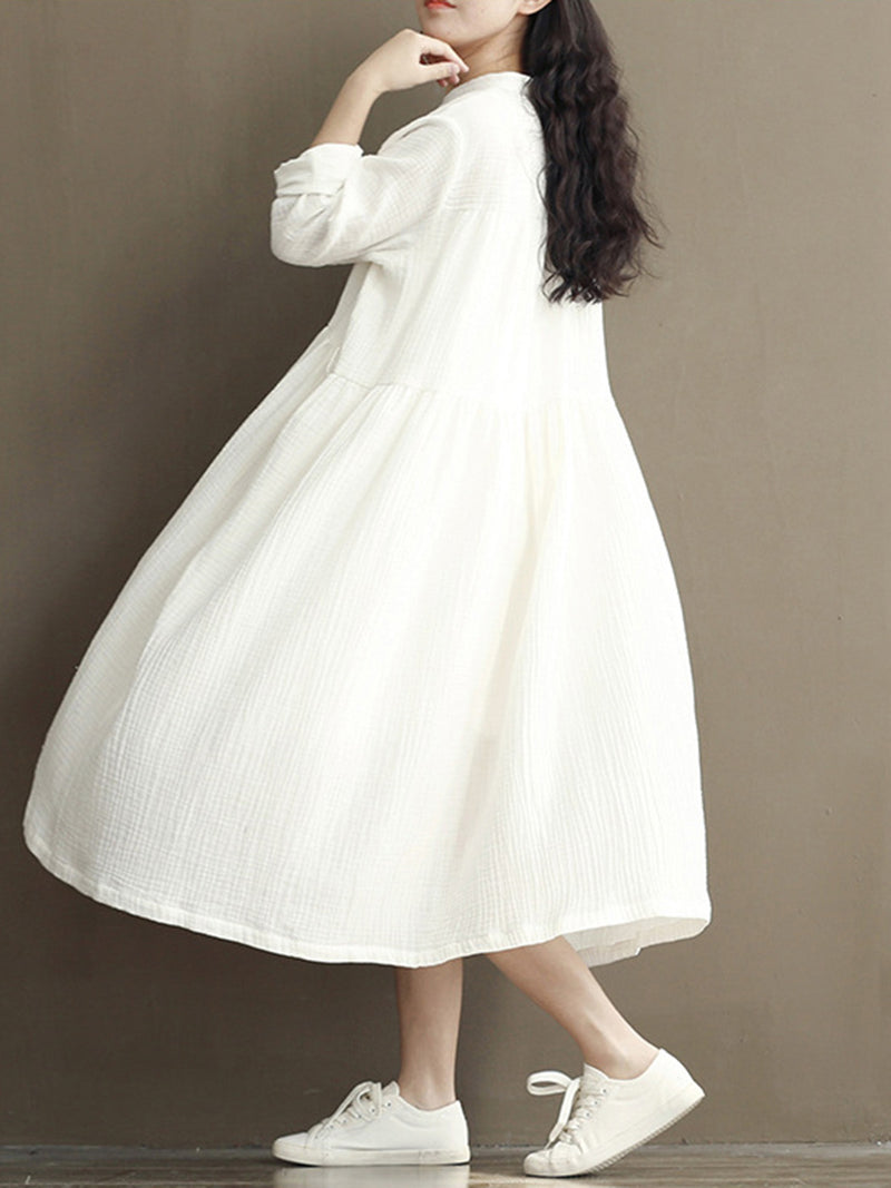Women Swing Long Sleeve V neck Buttoned Solid Dress