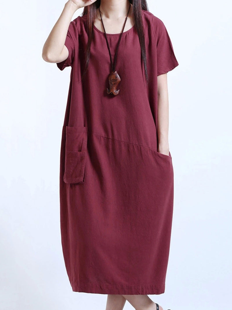 Casual Solid Cocoon Short Sleeve Dresses