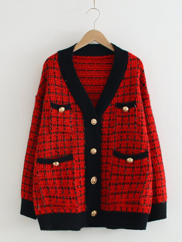 Women Checkered/plaid V Neck Knitted Sweet Outerwear
