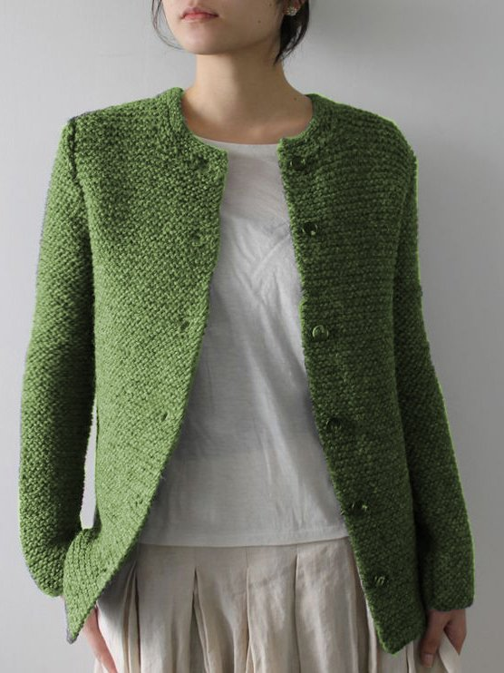 Green Loing Sleeve Casual Knitted Cardigans