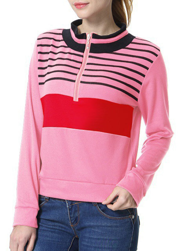 Zipper Turtleneck Long Sleeve Sweatshirt