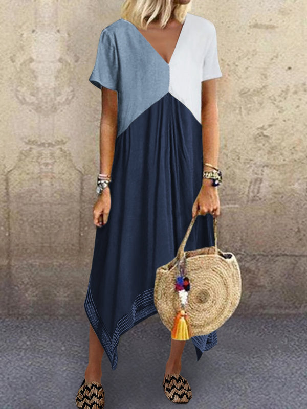 Plain Cotton-Blend Casual A-Line Dresses