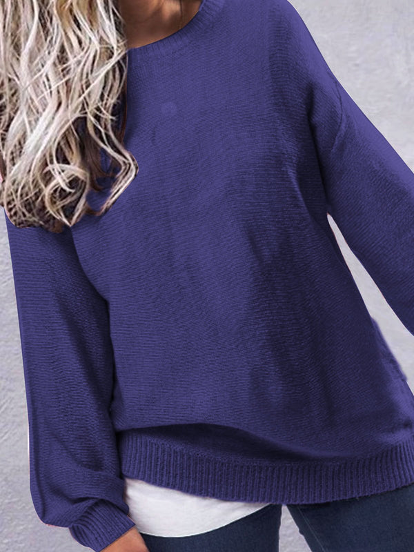 Casual Long Sleeve Crew Neck Sweaters
