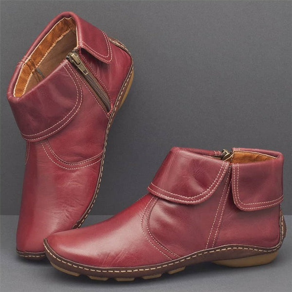 Women Casual Comfy Faux Leather Zipper Ankle Boots