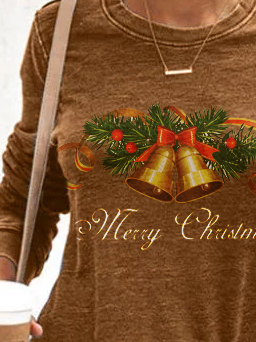 Brown Cotton-Blend Holiday Christmas Shirts & Tops
