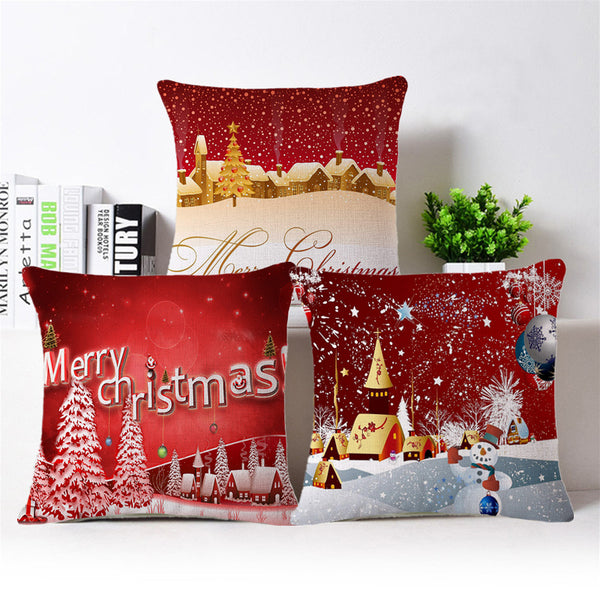European Style Christmas Pillow Case Fabric Home Sofa Office Car Chair Waist Pillow