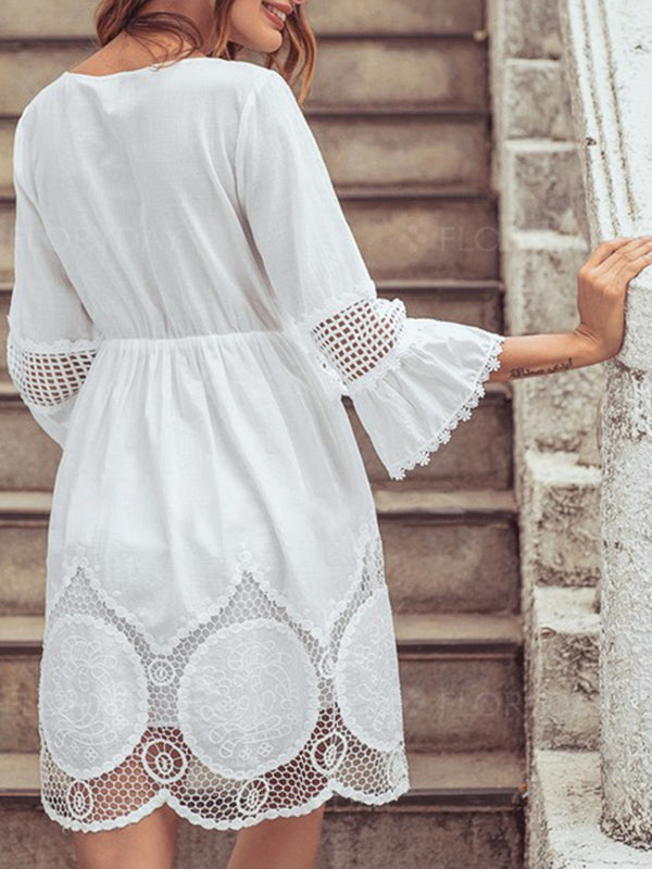White Casual Shift Lace Dresses