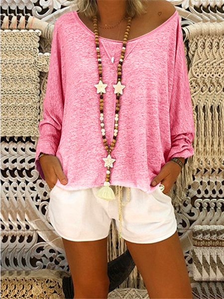 Long Sleeve Casual Solid Tops