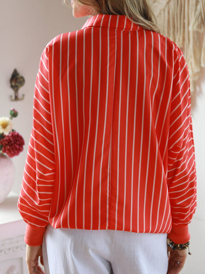 V Neck Stripes Printed Casual Tops