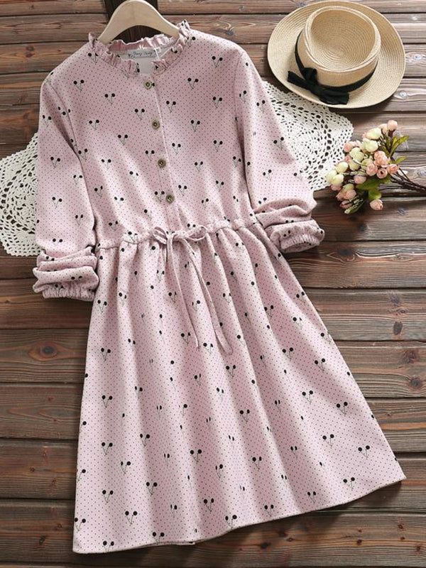 Sweet Cherry Printed Long Sleeve Dress