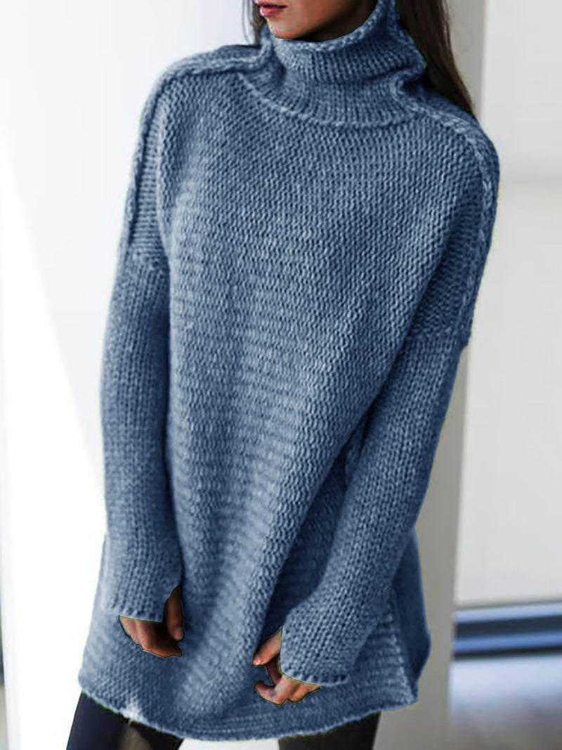 Women Turtleneck Cotton Knitted Long Sleeve Sweaters