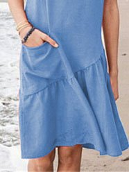Crew Neck Casual Cotton-Blend Pockets Causal Dresses