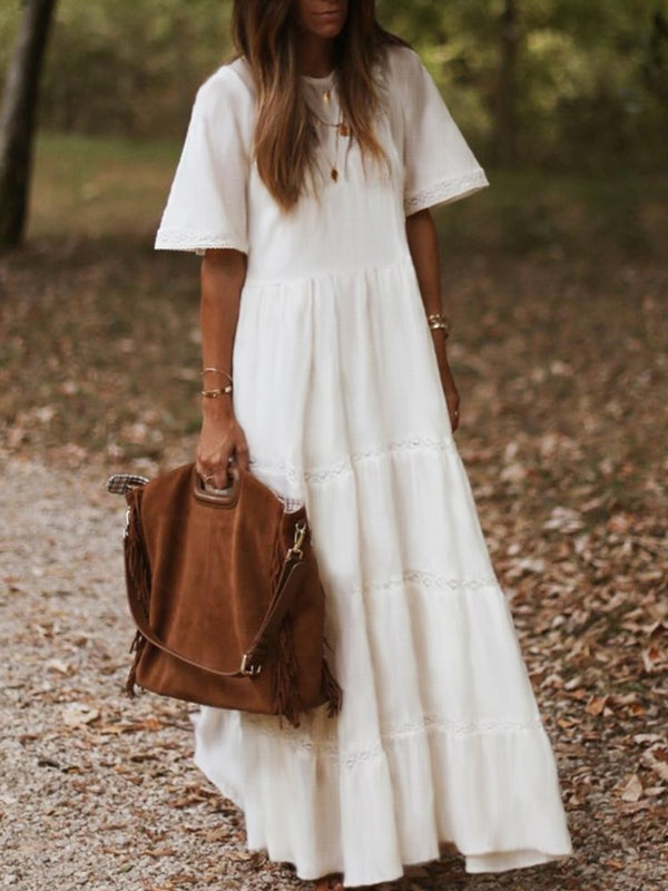 White Solid Cotton Short Sleeve Dresses