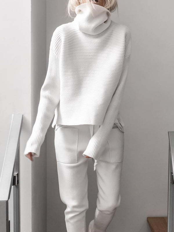 Women Casual Long Sleeve Turtleneck Cotton Jumpsuits