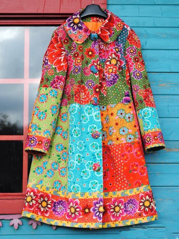 Multicolor Abstract Casual V Neck Outerwear
