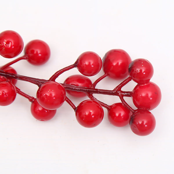 5 Pcs (14 Head )Small Red Fruit Decorations for Christmas