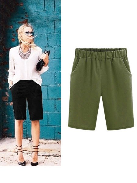 Women Casual shorts pockets Cotton Bottoms